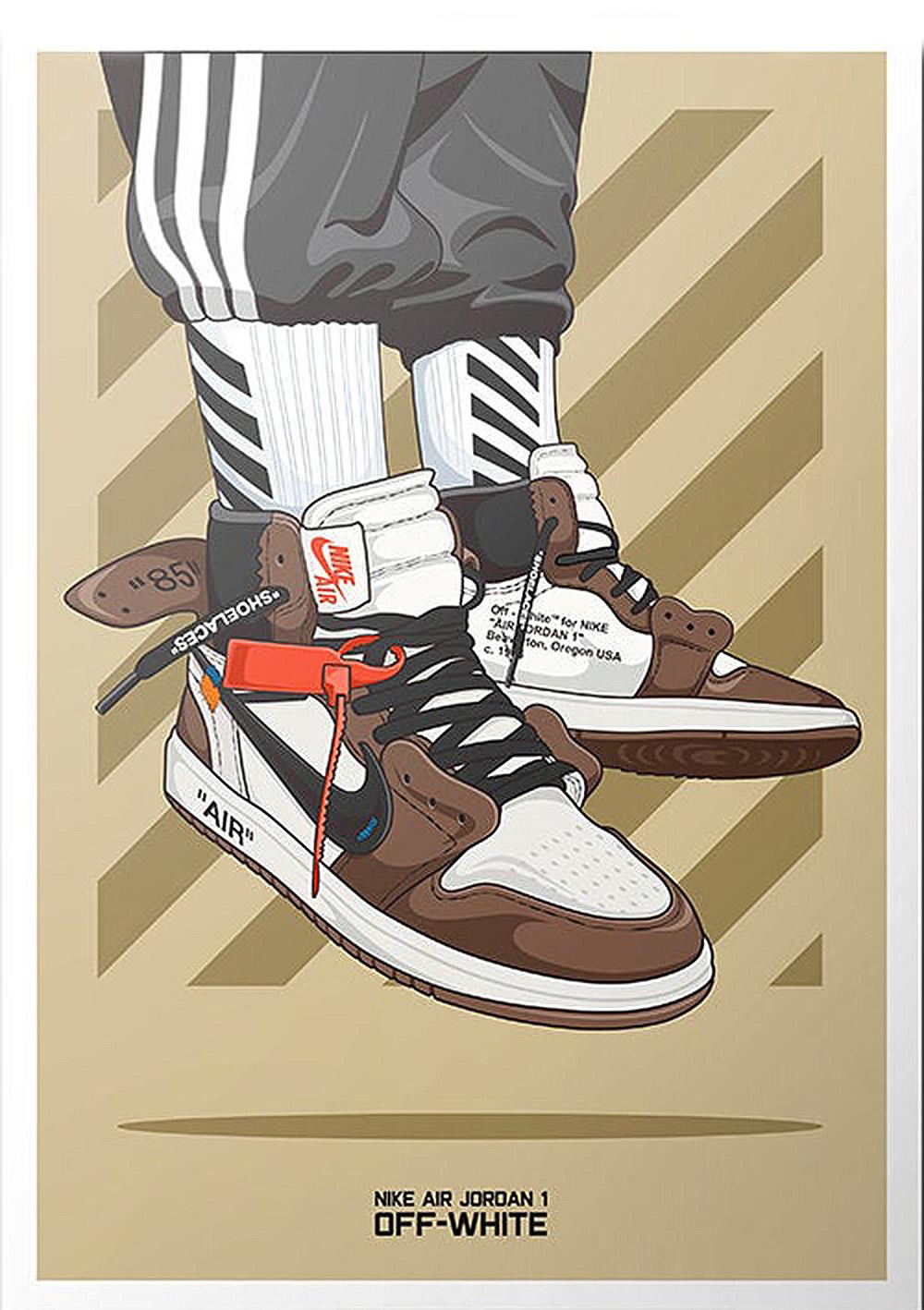 klasyczny styl tania wyprzedaż usa najlepsze trampki Air Jordan 1 Off-White kedų plakatas   kixart   kedų ...